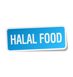 Halal food blue square sticker isolated on white vector