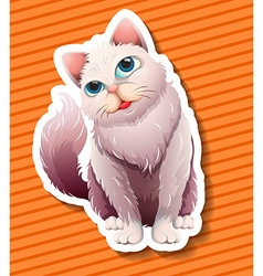 Long haired cat smiling vector