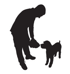Man feeding dog vector