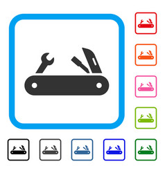 Multi-tools knife framed icon vector