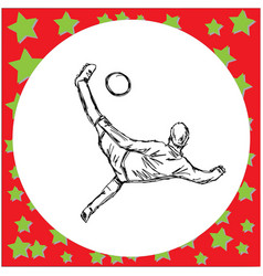 Overhead kick soccer player vector