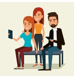 People using smartphone characters vector