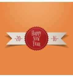 Realistic white ribbon with red new year label vector