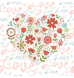 Seamless pattern with floral heart vector image
