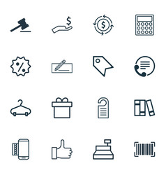 Set of 16 e-commerce icons includes present vector