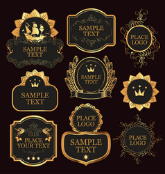 Set of labels templates in baroque style vector