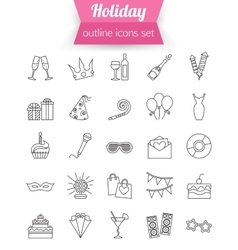 Set of outline holiday and party icons champagne vector