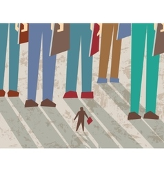 Small and big business people flat shadow vector