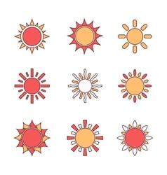 Sun symbols set vector image vector image