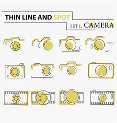 Thin line flat camera icons vector