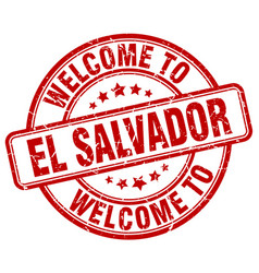 Welcome to el salvador red round vintage stamp vector