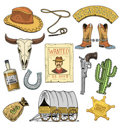 Wild west rodeo show cowboy or indians with vector