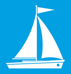 Yacht icon white vector