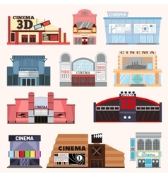 Cinema building set vector