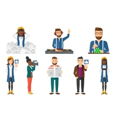 Set of business characters and media people vector