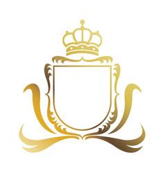 Golden shield crown heraldic luxury frame vector