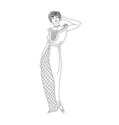 Beautiful retro style woman vector