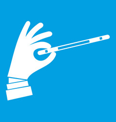 Magician hand with a magic wand icon white vector