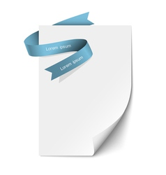 Sheet paper and blue ribbon vector