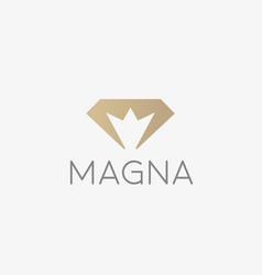 Diamond crown logotype gem king royal logo vector