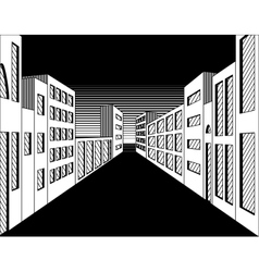 Black and white perspective night city street vector