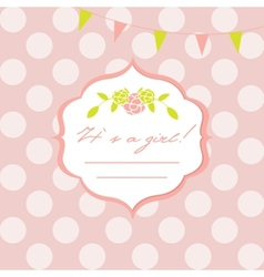 Baby girl shower card with seamless polka dots vector