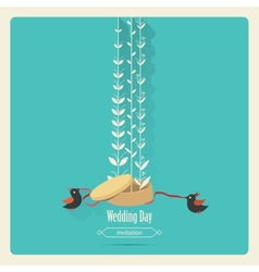 Bird wedding invitation vector
