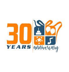 30 year gift box ribbon anniversa vector