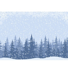 Winter landscape with fir trees and snow vector