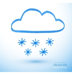 Felt pen drawing of snowy cloud vector