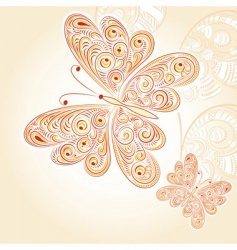 Spring butterflies with floral ornament vector