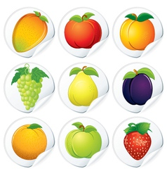 Set of isolated stickers with fresh fruits vector