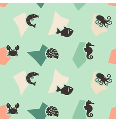 Seamless background with sea food and products vector