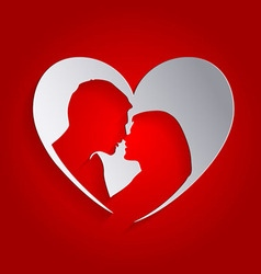 Heart silhouettes loving people vector