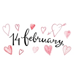Valentines hand lettering 14 february vector