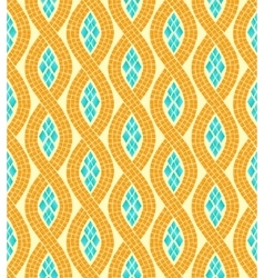 Yellow and blue wave mosaic seamless pattern vector