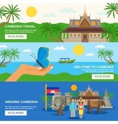 Cambodian culture 3 horizontal banners set vector