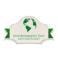 World environment day eco badge and ribbon vector