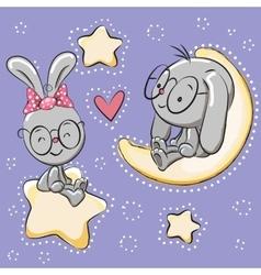 Cute lovers rabbits vector