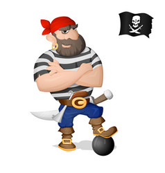 A pirate standing with cannon core vector