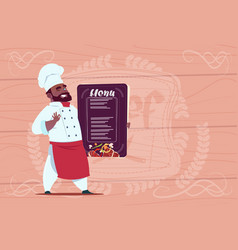 African american chef cook holding restaurant menu vector