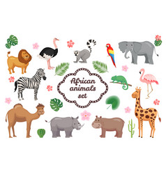 african animals set vector image