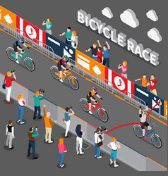 bicycle isometric composition vector image vector image