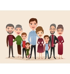 Big happy family cartoon concept vector