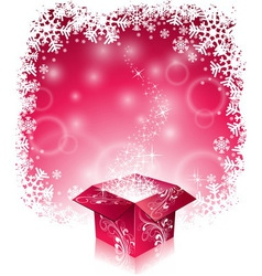 Christmas with shiny magic gift box vector image