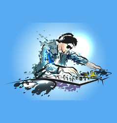 color line sketch dj vector image