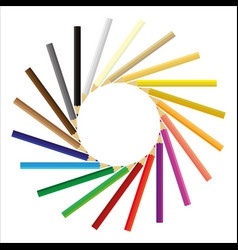 Colored pencils gathered in a circle vector