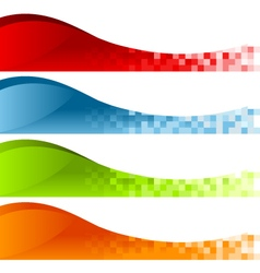 Colorful pixel swoosh banners vector