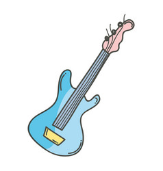 Cute guitar to play music instruments vector