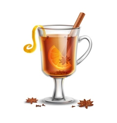 Grog hot rum drink with spices vector